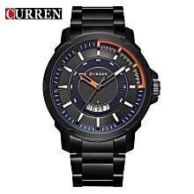 Luxury Sport Quartz Watch Fashion Casual Top Brand Military Quartz Wrist Watch Black Steel Band Clock Man