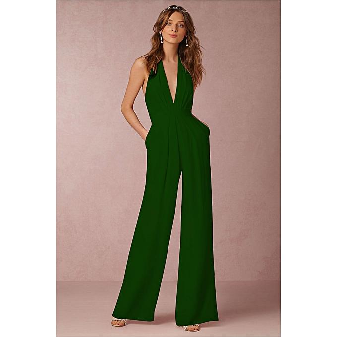 8fe95e88da9df AFankara Elegant Sleeveless Jumpsuit High Waist Romper Confident Ladies  Playsuit-Green
