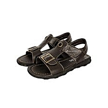 Dark/ Coffee  Open Leather Sandals With Velcro Straps And A Buckle In Front
