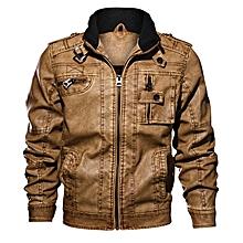 Mens Fashion Motorcycle Faux Leather Jacket Stand Collar Epaulet Khaki Coat