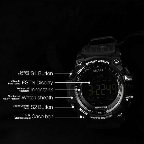 EX16 Multifunction Waterproof Smart Watch Remote Camera For Android iOS RD