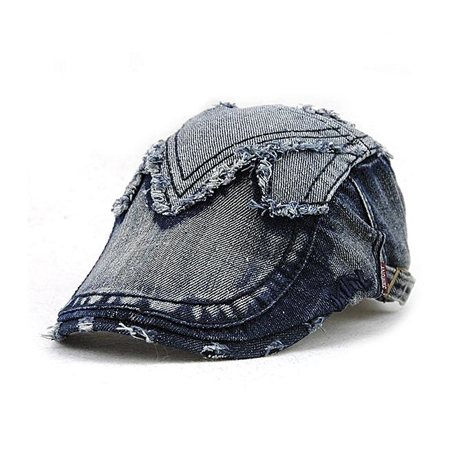 d9a6cdd532e Unisex Cotton Denim Jeans Washed Newsboy Beret Hat Duckbill Golf Buckle  Cabbie Cap For Men Women ...