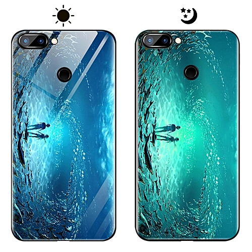 the latest ef1d2 b82f2 Honor 9N Case, Fashion Luminous [Noctilucent] Tempered Glass Back Cover  With Soft Silicone Rubber TPU Bumper Hybrid Protection Case For Huawei  Honor ...