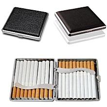 Black Pocket Leather Metal Tobacco 20 Cigarette Smoke Holder Storage Case Box