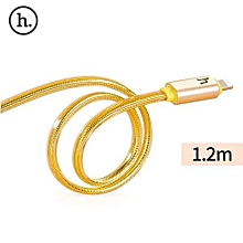 UPL12 2.4A Metal Braided LED Light Cable For IPhone 1.2M - Golden