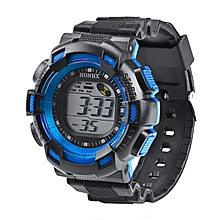 HONHX Africashop Watch  Men Fashion LED Digital Alarm Date Rubber Army Watch Waterproof Sport Wristwatch-Blue