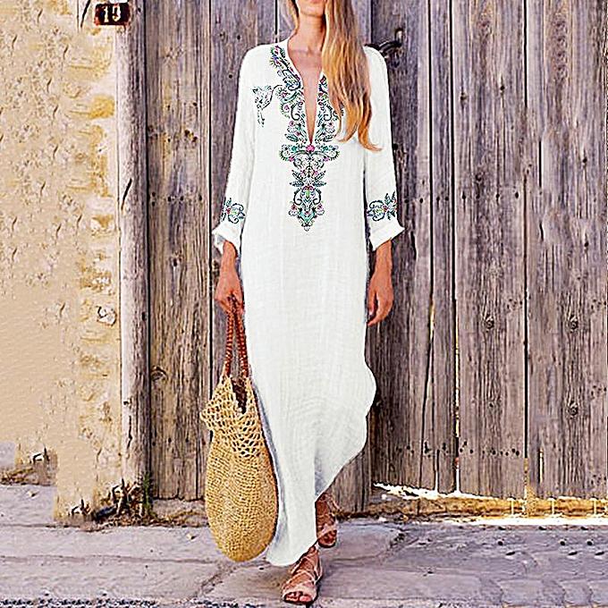 955a438389 Vintage Women Cotton Linen Long Dress Floral Print V-Neck Long Sleeve Split  Ethnic Maxi