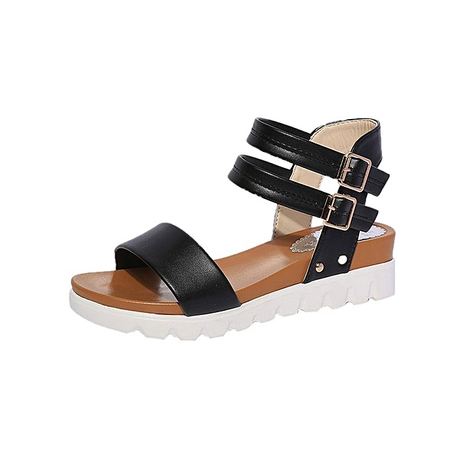 Fashion Women Simple Sandals Leather Flat Sandals Ladies Shoes-Black (EU  Sizing)