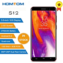 S12 3G Smartphone 5.0 inch Android 6.0 MTK6580 Quad Core 1GB RAM 8GB ROM 8MP + 2MP Dual Rear Cameras - BLACK AND RED