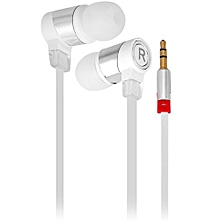 1.1M In-ear Headset Perfect HiFi Sound Earphone Flat Wire Good Sound Insulation_WHITE
