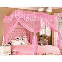Mosquito Net 4x6 with Metallic Stand (Curved) - pink