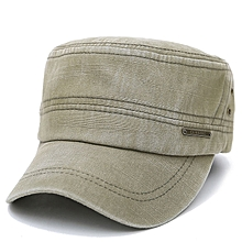 Mens Cotton Plain Flat Vintage Cadet Solid Washed Cap Air Hole Stitching Retro Hats