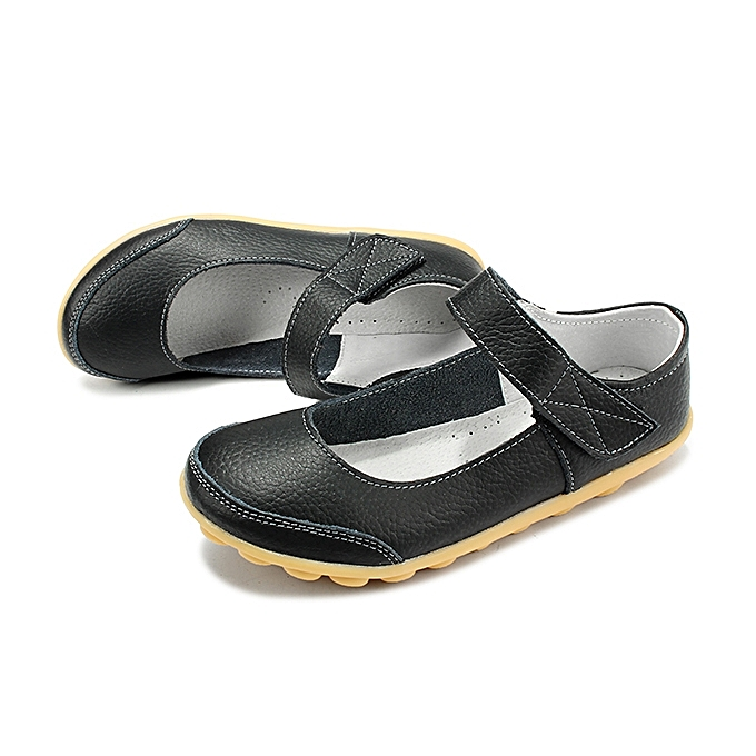 7057e9929af ... Big Size Women Soft Leather Breathable Comfy Flat Shoes Buckle Round  Toe Flats ...