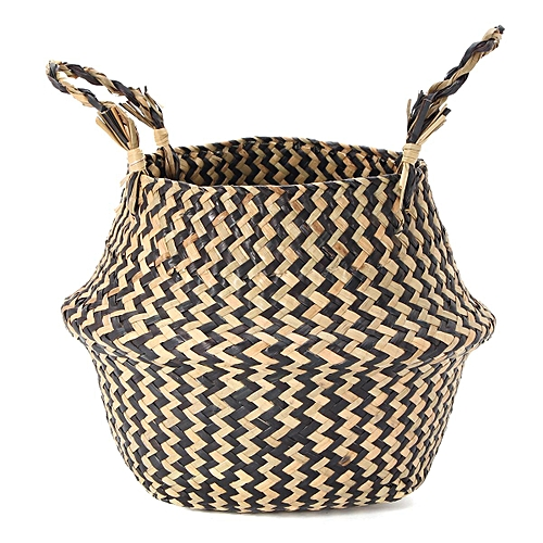 Foldable Seagr Belly Basket Storage Plant Pot Nursery Laundry Bag Room Decor 22x20cm