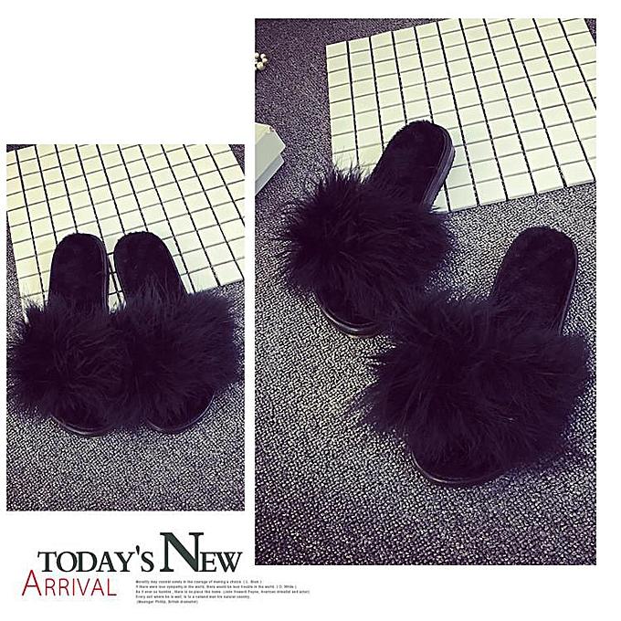 quality design 5e42e 91e2d Women's Fur Fluffy Slippers Slides Mules Sandals Feather Home Open Toe  Shoes black