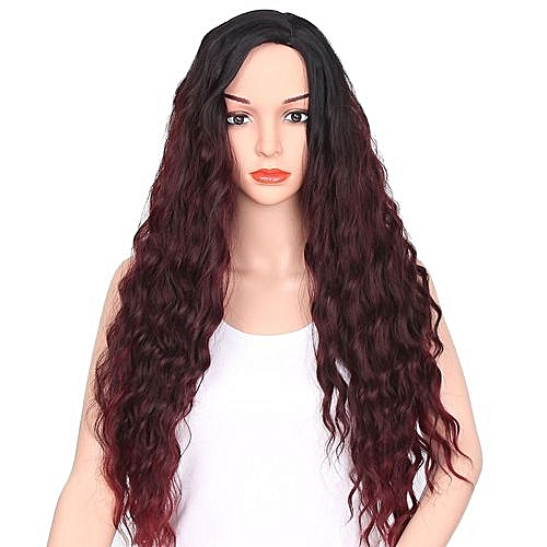 Generic Technologg Beauty Women Fashion Lady Middle Part Big Wave Gradation  Wine Red Wig Curly Hair-Red 2c23565fbd