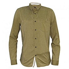 Beige Men's Long Sleeved Buttoned down Shirts