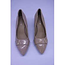 Gold Ladies Pointed Cobra Skin Court Shoes