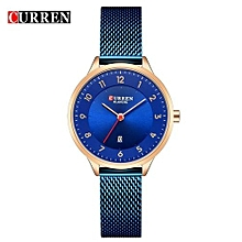 Female Quartz Watch Date Display Ultra-Thin Knit Strap Ladies Top Brand Wristwatch For Women - Blue