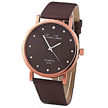 Fashion Women's Diamond Leatheroid Band Round Dial Quartz Wrist Watch-Coffee