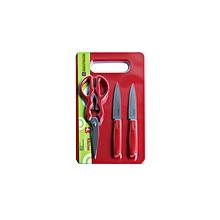 RF6968-4Pcs Kitchen Gadget Set-2 Knives +Scissor+Board-Red