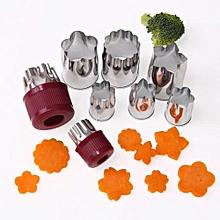 Set Of 8pcs Stainless Steel Flower Shape Cake Vegetable Fruit Cutter Mold Tool