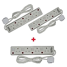 Three Astra 4-Way Socket Extension Cable - White