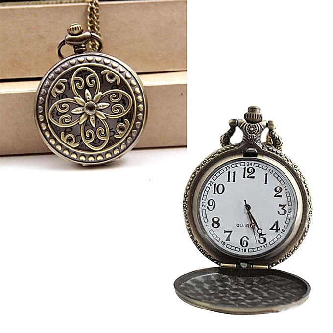785496c56 wenrenmok store Vintage Cross Flower Quartz Pocket Watch Necklace Pendant  Chain Watch