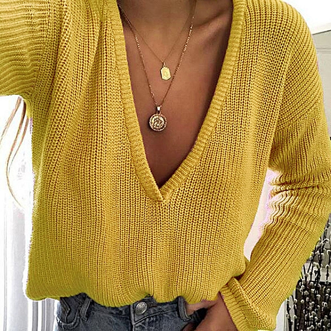 jiuhap store Women Casual Deep V Neck Knitted Sweater Jumper Tops Long  Sleeve Pullover-Yellow 1e6fdcea7