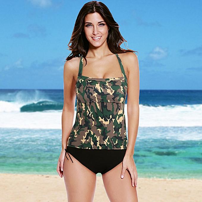 e6e6100934 Sexy Women Bikini Set Swimwear Swimsuit Camouflage Print Spaghetti Strap  Tankini Two Piece Bathing Suit Beachwear