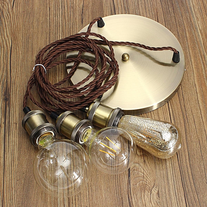 Bjvb Three Vintage Industrial Wood Pendant Lamp Bedroom: Generic KINGSO E27 Three Socket Lamp Socket Edison Pendant