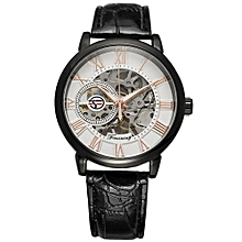 Blicool Wrist Watch Men Mechanical Skeleton Watch Hand Wind Up Gold Dial Leather Strap-As Picture