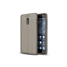 Nokia 6 2018 Shock Proof Carbon Fiber Rugged Armor Soft Back Case Grey