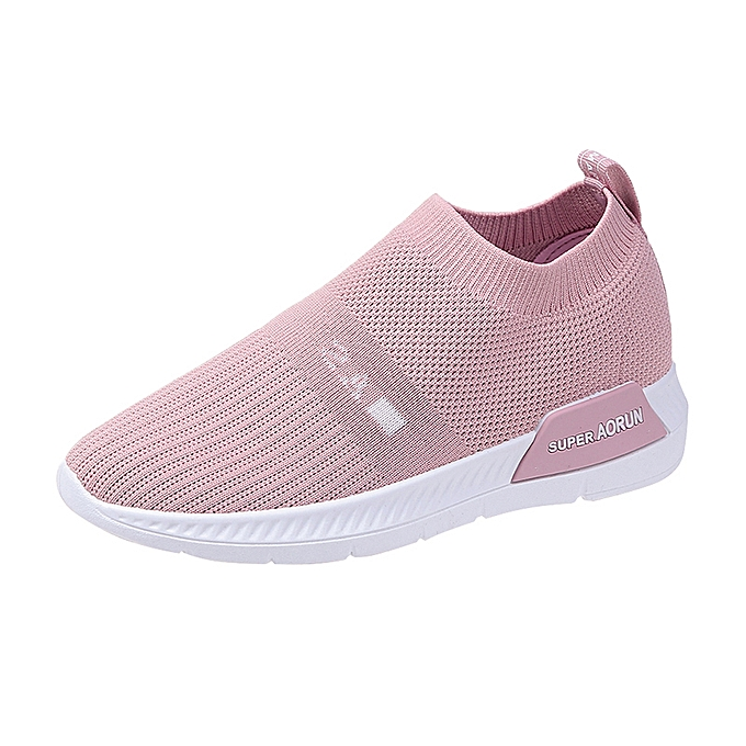 6d408a6022f82 Womens Flyknit Sneakers Soft Mesh Casual Walking Shoes Pink