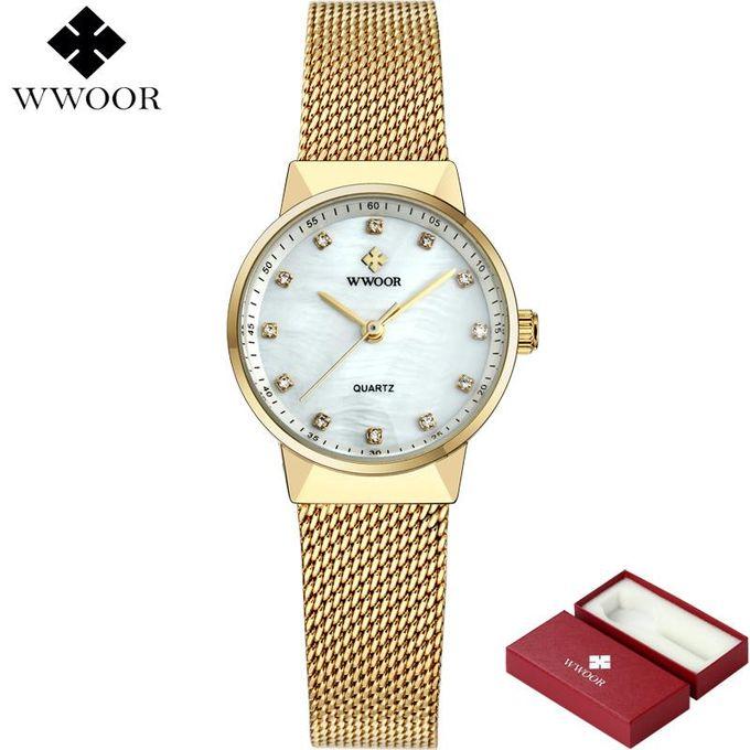 Wwoor 8825 50m Waterproof Rose Gold Watch Women Quartz Watches Ladies Top Brand Luxury Female Wrist Watch Girl Clock