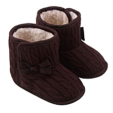 bluerdream-Baby Bowknot Soft Sole Winter Warm Shoes Boots Coffee/11-Coffee