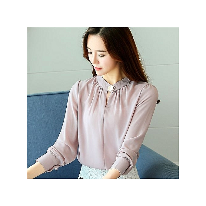 7bf9908bd1 Korean Fashion Spring Pure Color Simple Collar Blouse Soft Pleated  Long-sleeved Chiffon Shirt Loose
