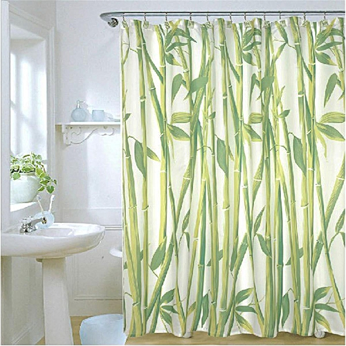 Generic Waterproof Bathroom Fabric Shower Curtain Bamboo Tree Natural Landscape 12 Hooks