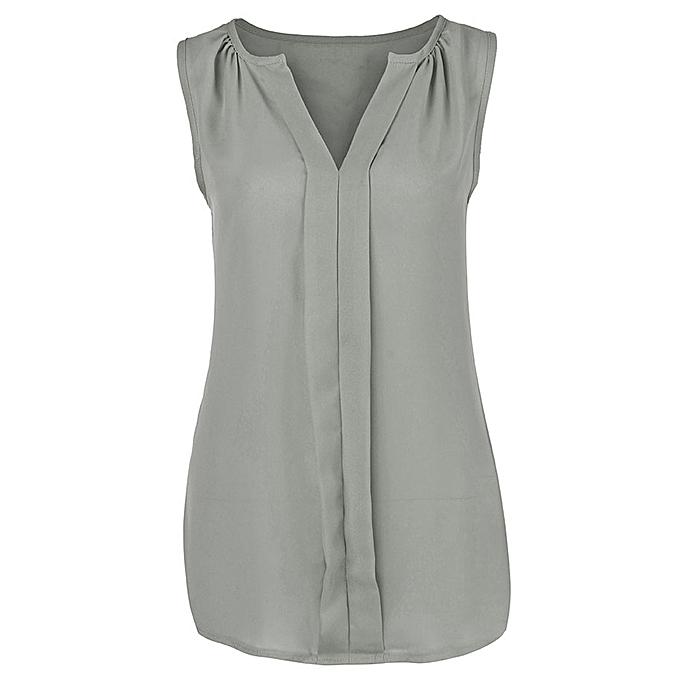 a5b93096664 Womens Plus Size Chiffon Vest Shirt Sleeveless Blouse Casual Tank Tops T- Shirt -Gray