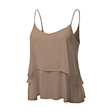Hiamok Womens Sexy Sleeveless Halterneck Tank Crop Tops Vest Blouse T-Shirt KH XXL