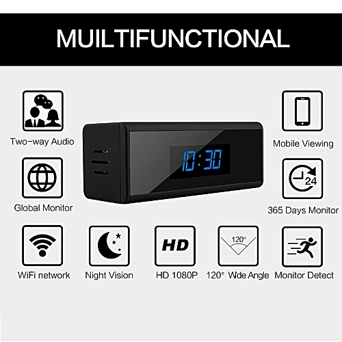 1080P WIFI Mini Camera Time Alarm Wireless Nanny Clock P2P IP/AP Security  Night Vision Motion Sensor Remote Monitor Micro Home JUN(cam)