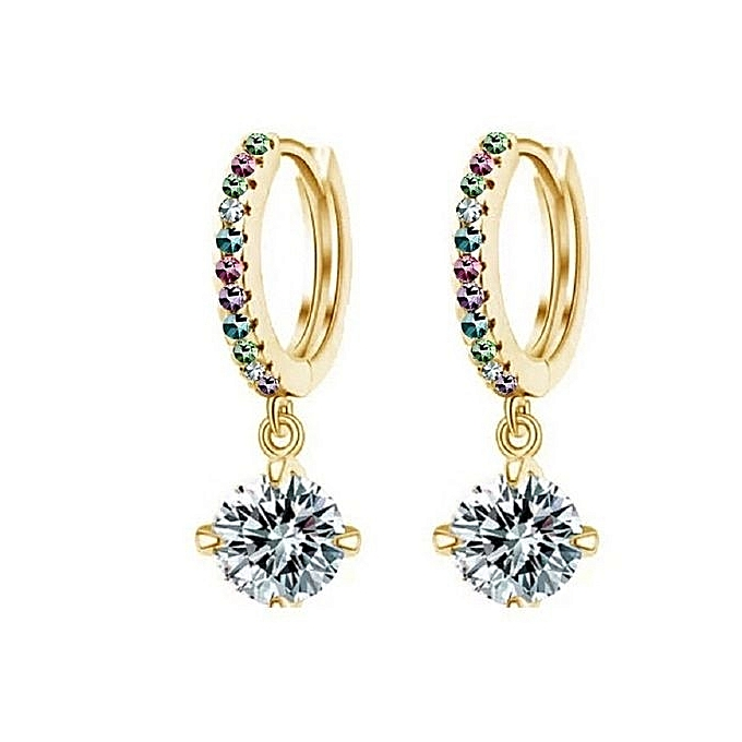 Okdeals Women 18k Plated Rhinestone Hoop Earrings Gold Multicolor