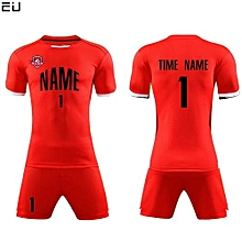 Customized Youth Chuldren And Adult Men's Football Soccer Team Jersey Set-Red(QD-625)
