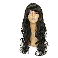 Long Wavy Semi Human Brazilian Wig With side fringe