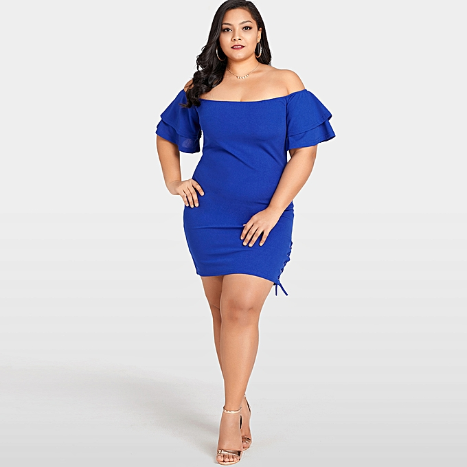 62b50f844e Women Sexy Plus Size Dress Solid Off the Shoulder Layer Sleeve Lace Up  Elegant Slim Dress Royal Blue