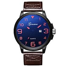 Olivaren GONEWA Mens Quartz Wrist Watch Analog Date Day Army Sport Leather LuxuryBrown