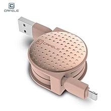 Circular Cover Stretchable 8 Pin Data Charging Cable 1M - Rose Gold