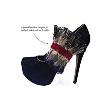 ARI Asymmetrical Pleated Ankle Cuff - Multi Purpose Jewellery - Guinea Fowl