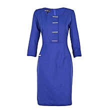 Blue ¾ Sleeve Formal Dress