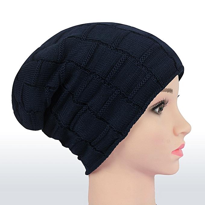 singedanUnisex Men Women Cap Knitted Beanies Cap Hats Skiing Slouchy Snow  Warm Head Caps -Navy b75a4adda9e